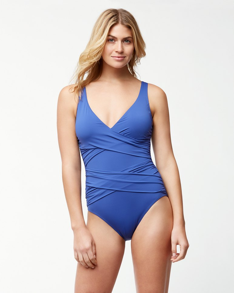 d6832c36f6f41 Pearl Wrap-Front One-Piece Swimsuit