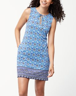 Tika Tiles Split-Neck Swim Dress