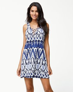 Pineapple Ikat Lace-Up Tunic Dress