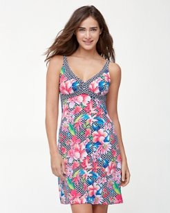 Petals of Paradise V-Neck Swim Dress