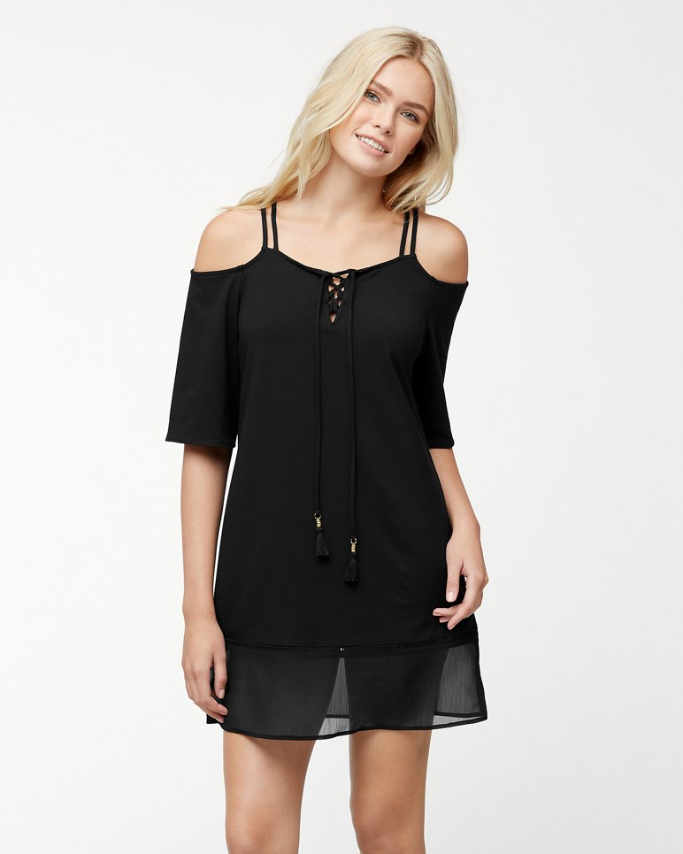 Main Image for Cotton Modal Cold-Shoulder Dress