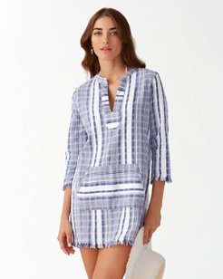 Yarn Dye Stripe V-Neck Popover Tunic
