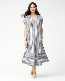 Yarn Dye Stripe Tea-Length Dress