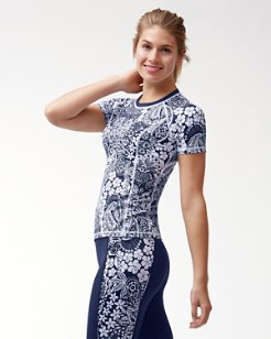 IslandActive™ Paisley Paradise Short-Sleeve Back-Zip Rash Guard