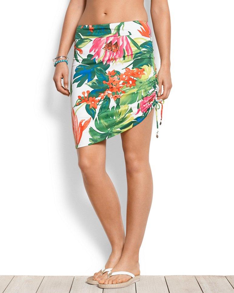 5ed9b4811d White Tropical Side-Shirred-Skirt