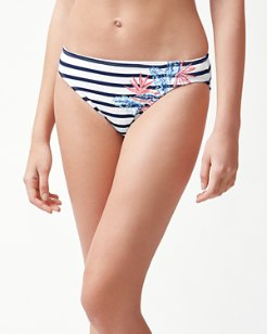 Palms Of Paradise Embroidered Hipster Bikini Bottoms