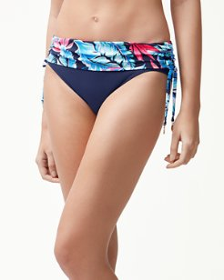 Palms Of Paradise High-Waist Shirred Bikini Bottoms