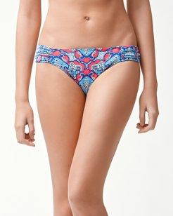 Riviera Tiles Reversible Side-Shirred Hipster Bikini Bottoms
