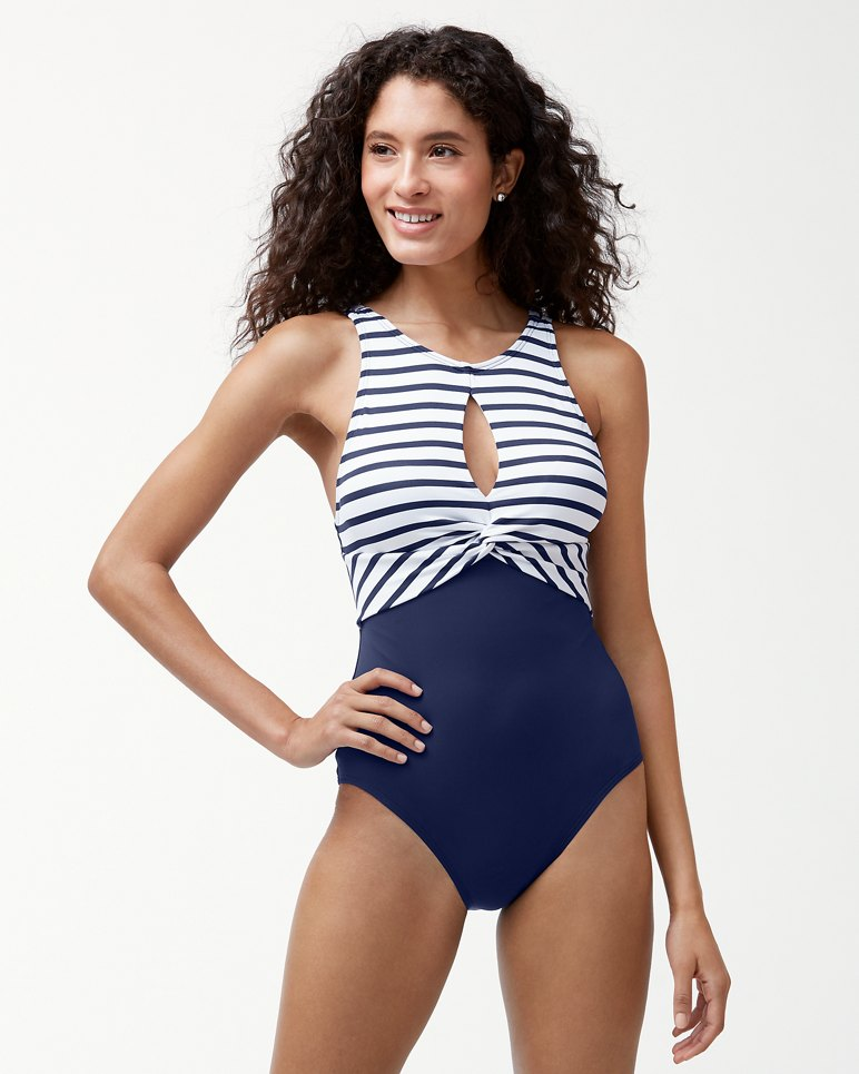 Main Image for Channel Surfing Twist-Front High-Neck One-Piece Swimsuit