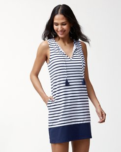 Channel Surfing Split-Neck Swim Dress