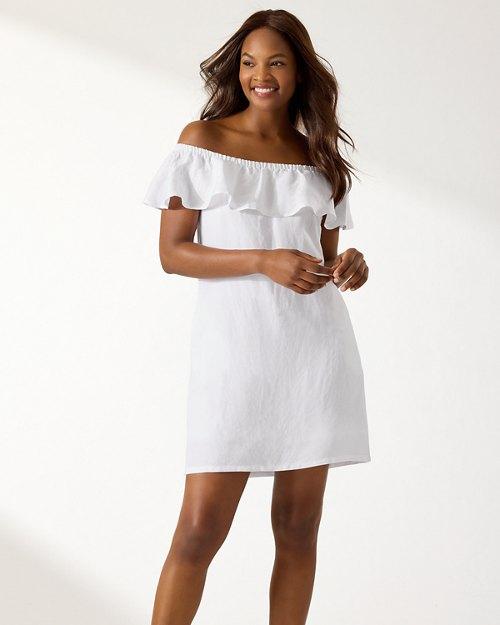 Linen-Blend Off-The-Shoulder Dress