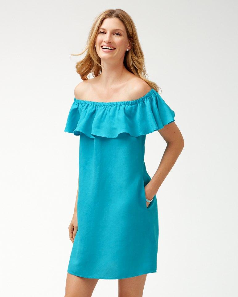 Main Image for Linen-Blend Off-The-Shoulder Dress