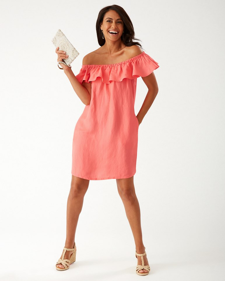 Main Image for Linen-Blend Off-The-Shoulder Dress