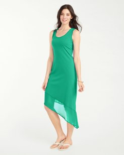 Knit & Chiffon Scoop-Neck Tea-Length Dress