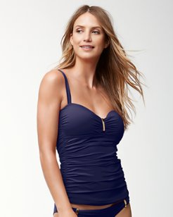 Pearl Over-The-Shoulder Shirred Tankini