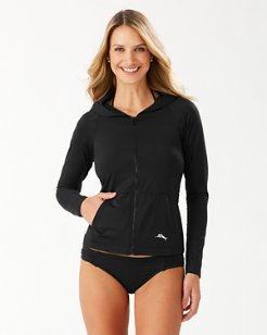 Pearl Long-Sleeve Hooded Rash Guard With Pockets