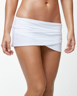 Pearl Wrapped-Skirt Hipster Bikini Bottoms