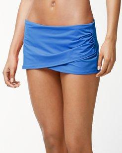Pearl Wrapped-Skirt Hipster Bikini Bottoms