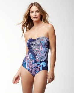 Paisley Leaves Bandeau One-Piece Swimsuit