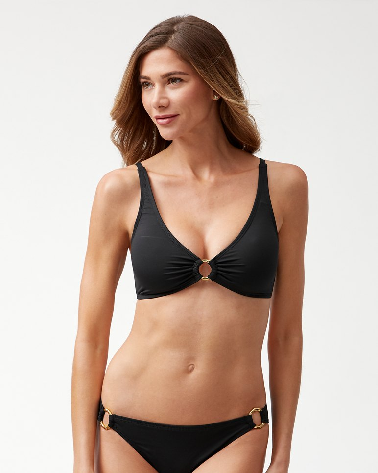 Main Image for Pearl Over-The-Shoulder Bikini Top With Gold Ring
