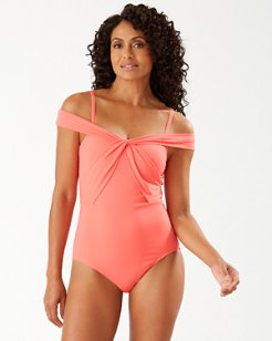 Pearl Off-The-Shoulder One-Piece Swimsuit