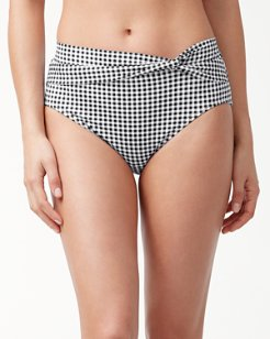Gingham High-Waist Bikini Bottoms