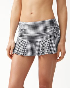 Gingham High-Waist Skirted Bikini Bottom