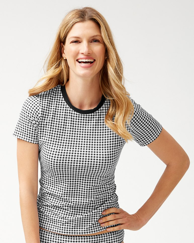 Main Image for Gingham Short-Sleeve Rash Guard