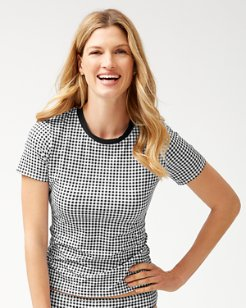Gingham Short-Sleeve Rash Guard