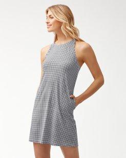 Gingham High-Neck Dress