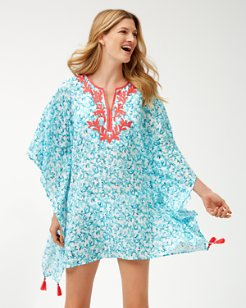 Coral Cabana Embroidered Tunic