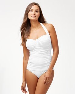 Pearl V-Front Halter One-Piece Swimsuit