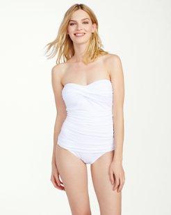 Pearl Twist-Front Bandeau One-Piece Swimsuit