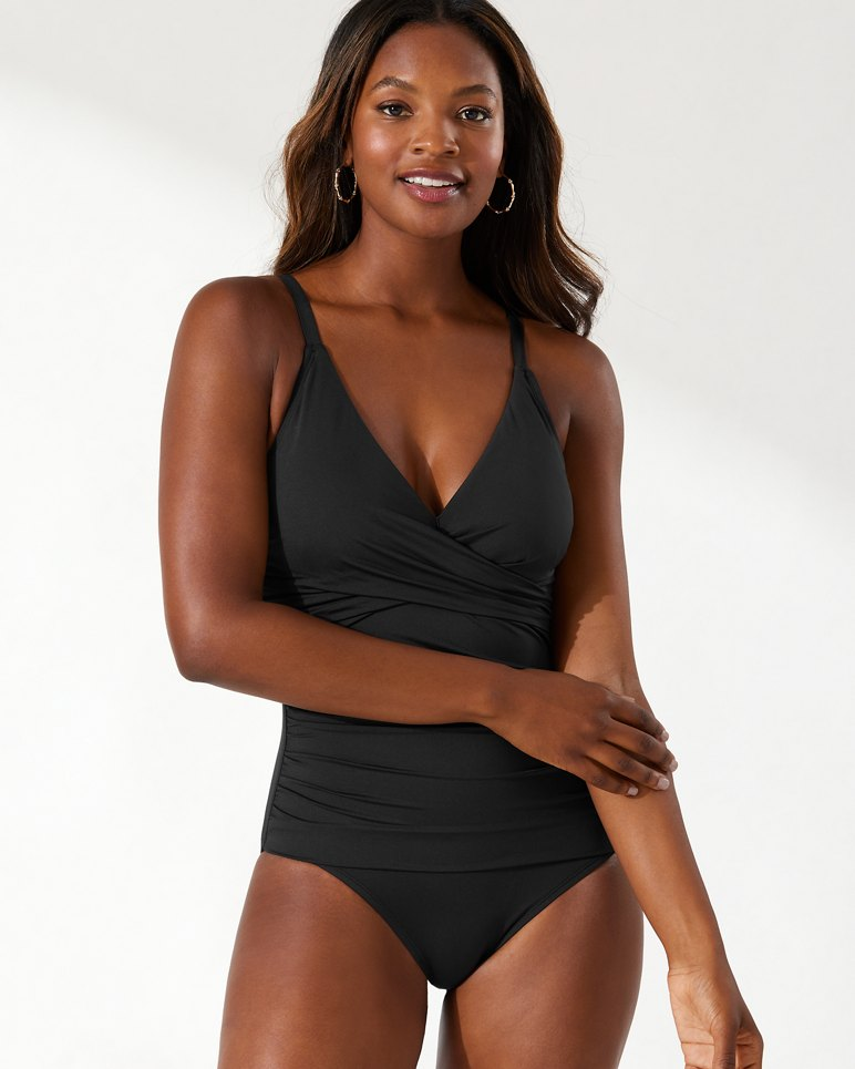 cb8056d0d8682 Main Image for Pearl Wrap-Front One-Piece Swimsuit