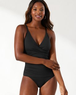 Pearl Wrap-Front One-Piece Swimsuit