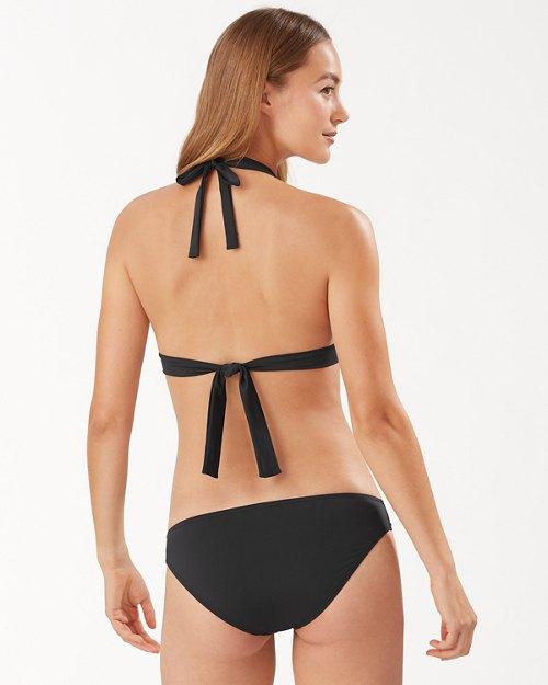Pearl Loop-Strap Halter Bikini Top