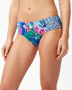 Orchid Groves High-Waist Shirred Hipster Bikini Bottoms