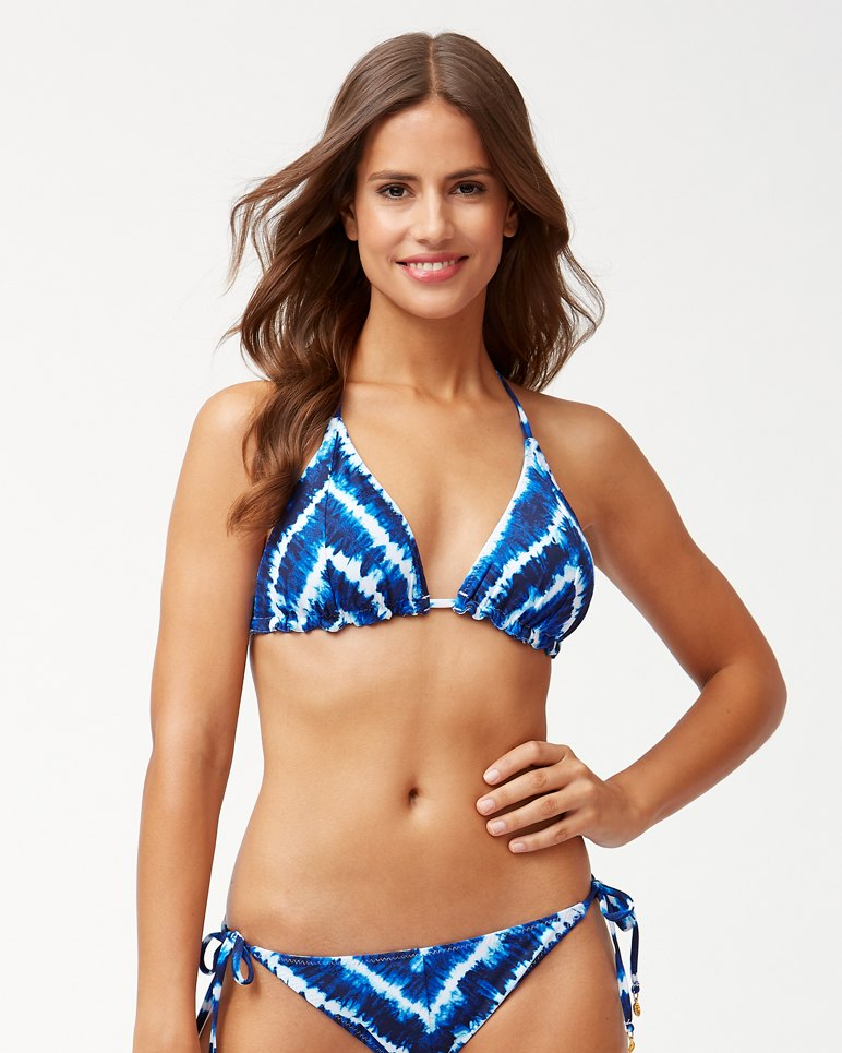 Main Image for Tide Dye Stripe Reversible Triangle Bikini Top