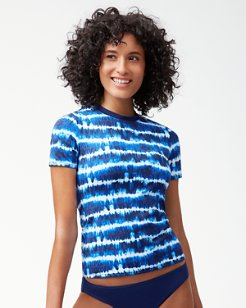 Tide Dye Stripe Short-Sleeve Rash Guard