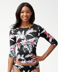 Ginger Flowers Boatneck Rash Guard