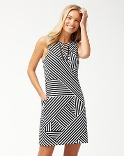 Fractured Stripe Split-Neck Dress