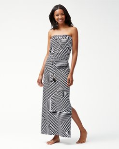 Fractured Stripe Bandeau Maxi Dress