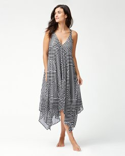 Fractured Stripe Scarf Dress