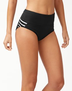 IslandActive® Breton Stripe High-Waist Bikini Bottoms