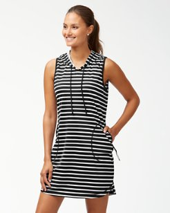 IslandActive® Breton Stripe Hooded Swim Dress