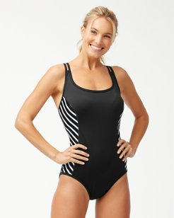 IslandActive® Breton Stripe Plunge Tank One-Piece Swimsuit