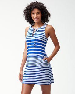 Beach Glass Stripe Lace-Up Dress