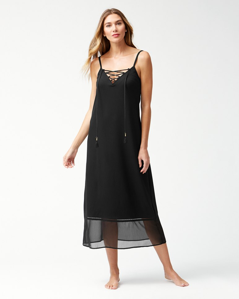 Main Image for Cotton Modal Lace-Front Maxi Dress