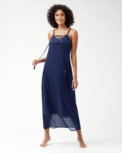 Cotton Modal Lace-Front Maxi Dress