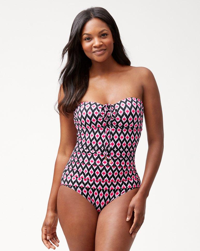 Main Image for Cerise Tiles Bandeau Tie-Back One-Piece Swimsuit
